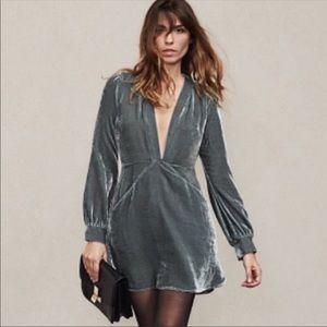 Reformation deep v-neck velvet dress